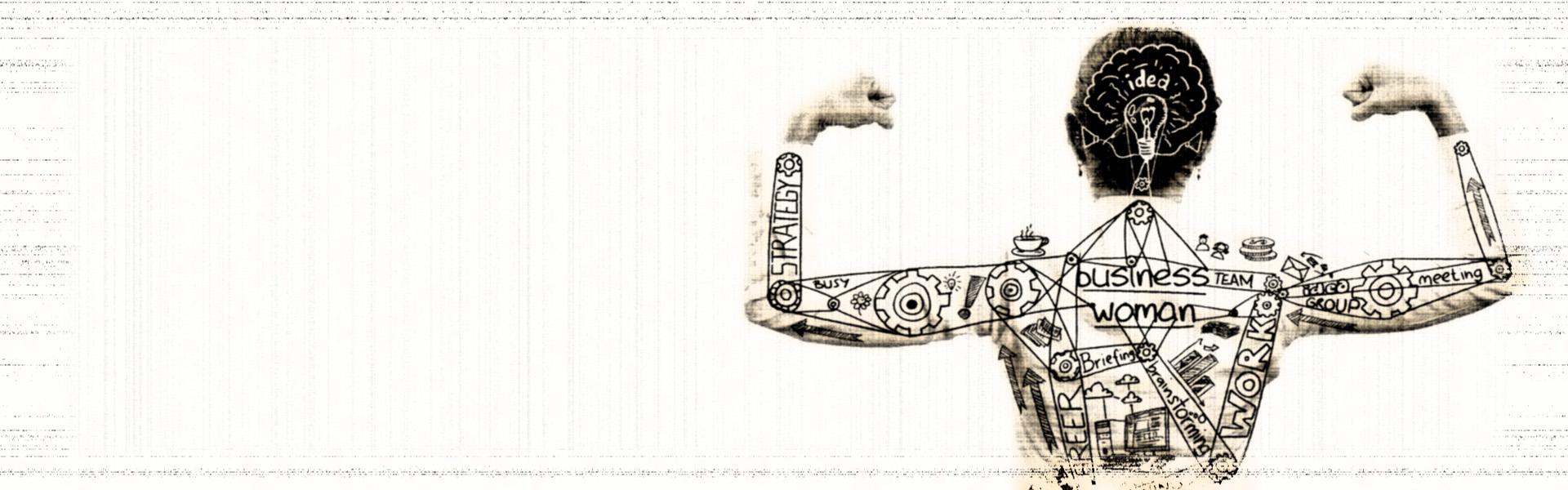 Grafika przedstawiająca kobietę napinającą mięśnie, trzymając ręce w górze. Na plecach kobiety znajdują się grafiki będące symbolicznym wykresem business woman.