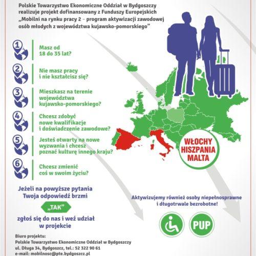 Mobilni na rynku pracy2 – zaproszenie do udziału w projekcie dla osób w wieku 18-35 lat
