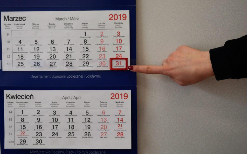 Zdjęcie kalendarz z datą trzydziestego pierwszego marca 2019