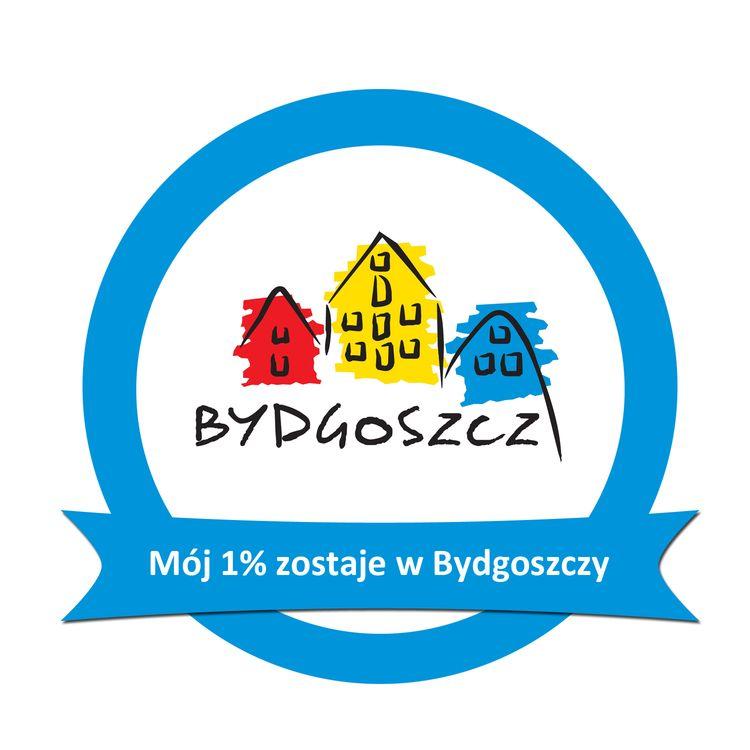 """Logo miasta Bydgoszcz z napisem """"Mój jeden procent zostaje w Bydgoszczy"""""""