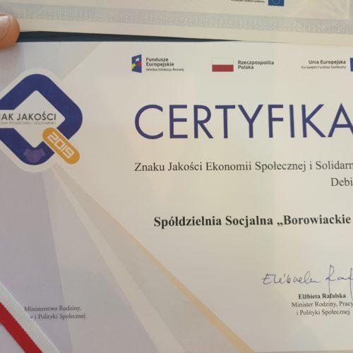 Spółdzielnia Borowiackie Smaki z Certyfikatem Znaku Jakości Ekonomii Społecznej i Solidarnej 2019 – za Debiut Roku.