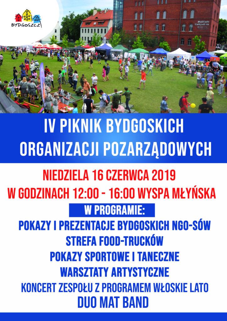 Plakat pod tytułem czwarty piknik bydgoskich organizacji pozarządowych odbywające się szesnastego czerwca 2019 w godzinach dwunastej do szesnastej na wyspie młyńskiej