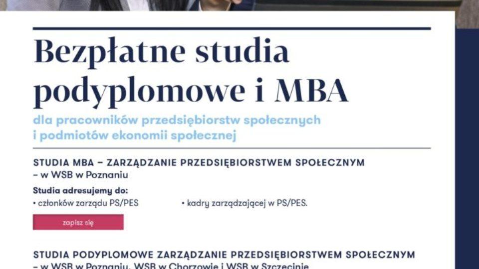 """Plakat """"Bezpłatne studia podyplomowe i MBA"""" dla pracowników przedsiębiorstw społecznych i podmiotów ekonomii społecznej"""""""