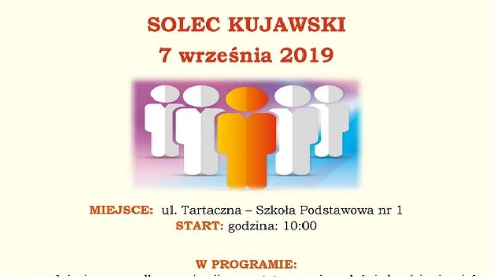 Plakat pierwszego forum organizacji pozarządowych powiatu bydgoskiego w Solcu Kujawskim który się odbył siódmego września 2019 na ulicy tartacznej w szkole podstawowej numer 1 o godzinie dziesiątej