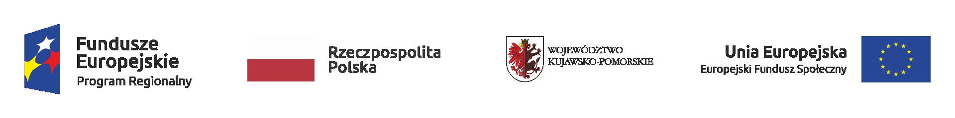 Grafika przedstawiająca logotypy instytucji rządowych. Od lewej: Fundusze Europejskie Program Regionalny, Rzeczpospolita Polska, Województwo Kujawsko-Pomorskie, Unia Europejska Europejski Fundusz Społeczny