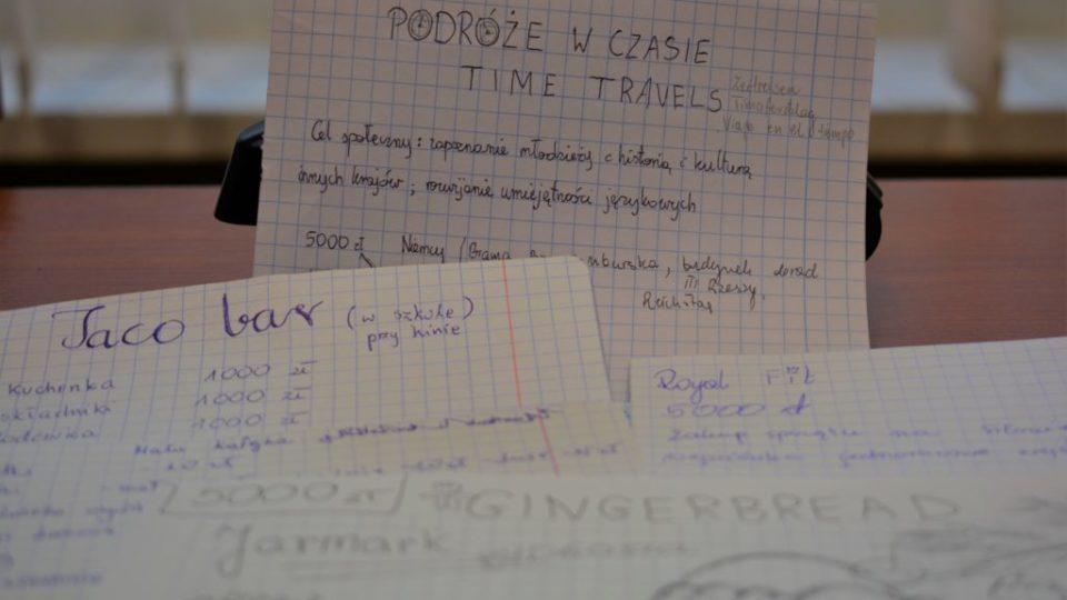 Zdjęcie kartek z zapisanymi pomysłami na biznes (restauracje, piekarnie, podróże w czasie)