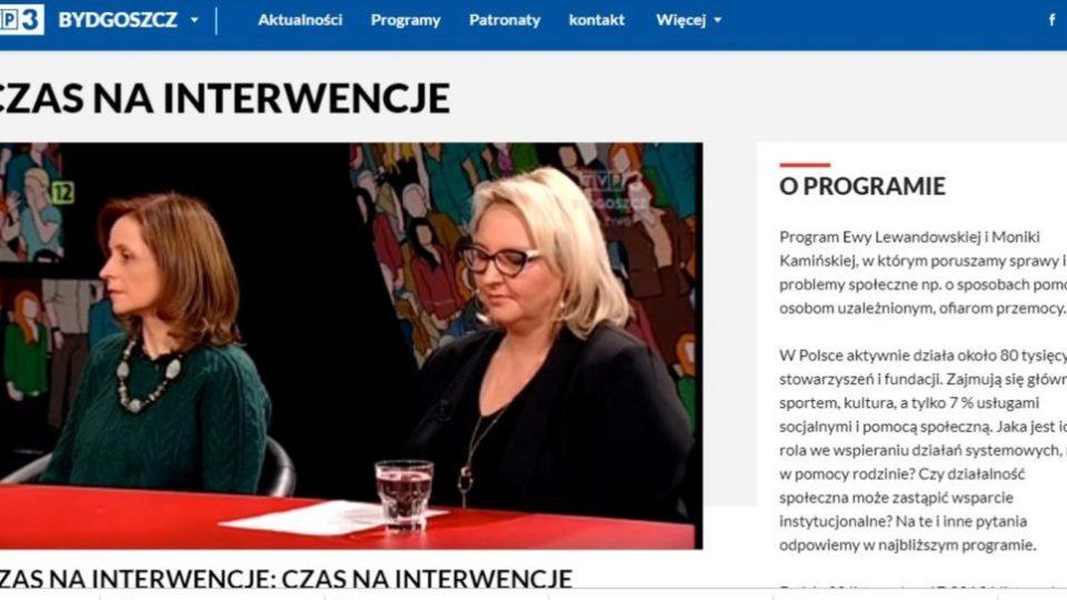 """Zdjęcie artykułu mówiącego o programie TVP 3 Bydgoszcz """"Czas na interwencje"""""""