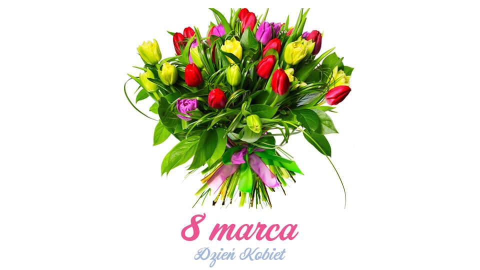 8 marca dzień kobiet - zdjęcie bukietu kwiatów