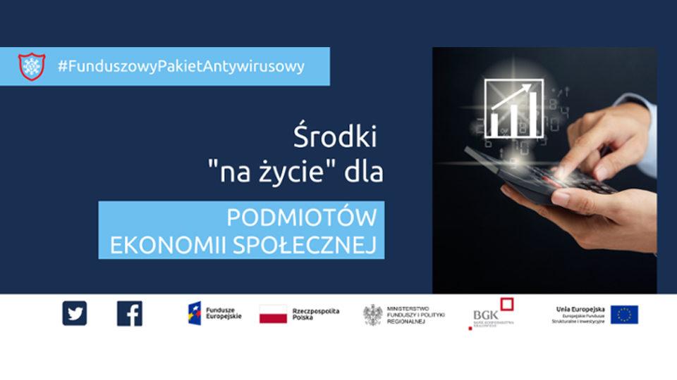 """Plakat akcji """"Środki na życie dla podmiotów ekonomii społecznej"""""""