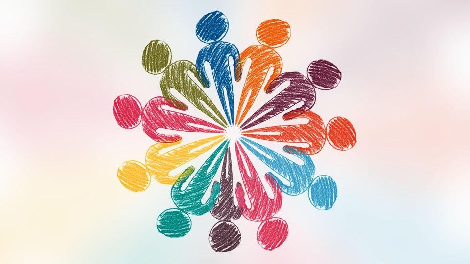 Rysunek kolorowych ludzików którzy tworzą okrąg