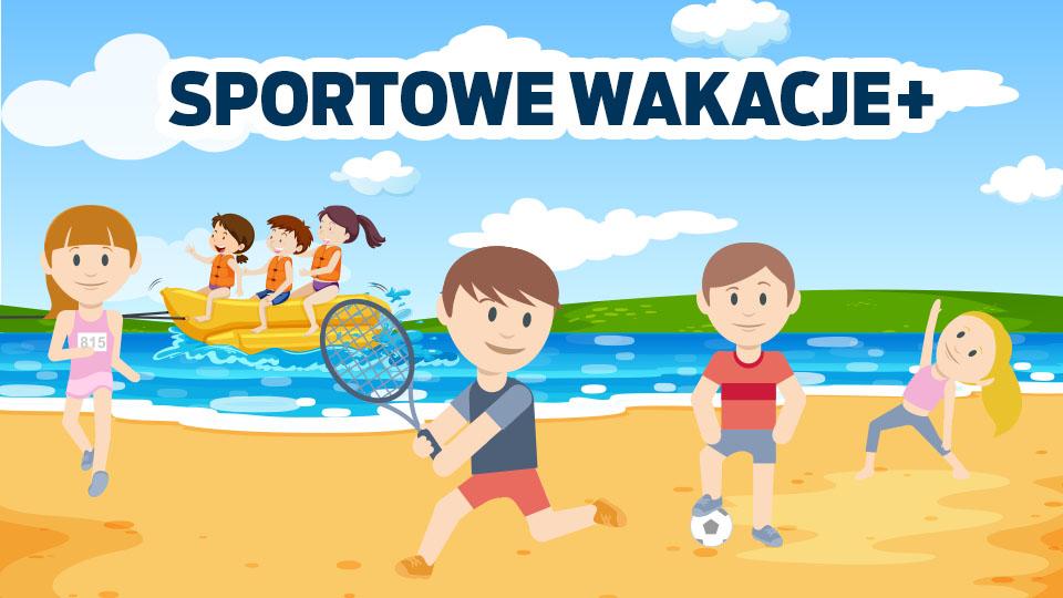 """Rysunek dzieci bawiących się na plaży z napisem """"Sportowe Wakacje plus"""""""