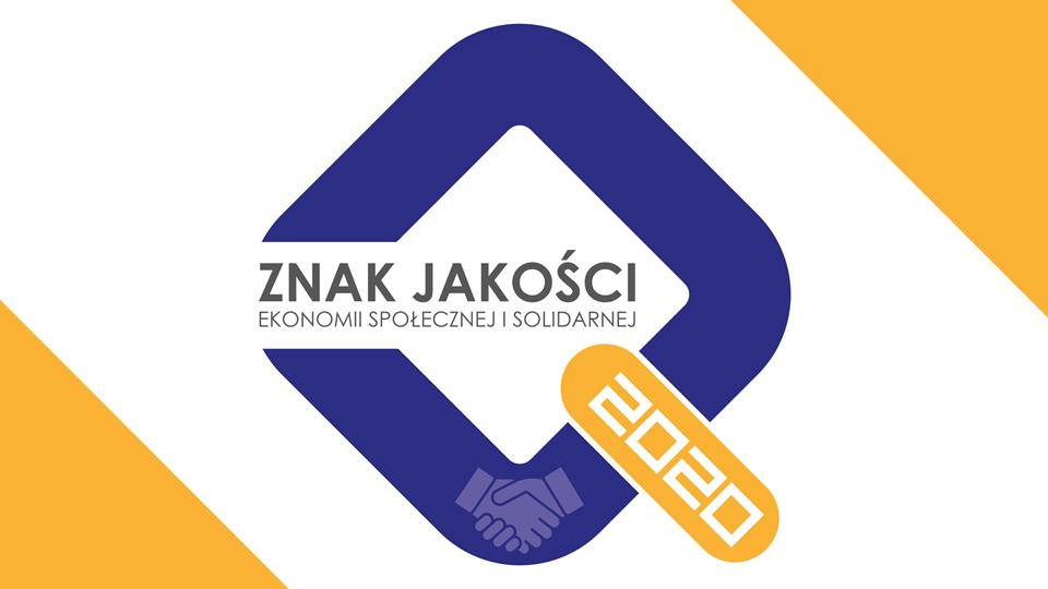 """Logo z napisem """"Znak jakości ekonomii społecznej i solidarnej 2020"""""""