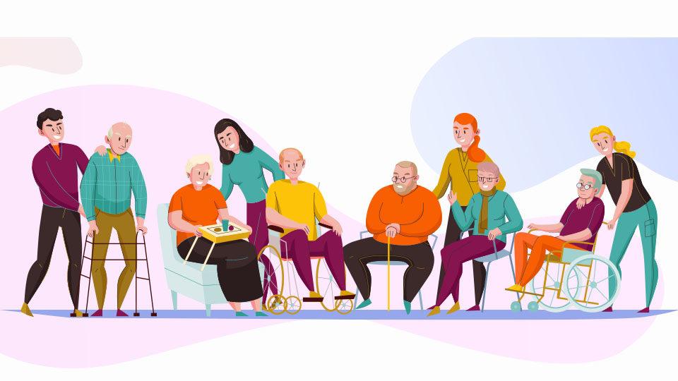 Rysunek przedstawia ludzi starszych oraz ich opiekunów