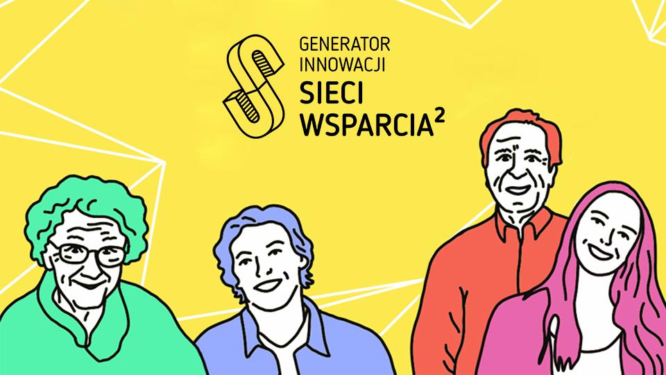 Rysunek ze starszymi ludźmi z logiem projektu Sieć wsparcia 2