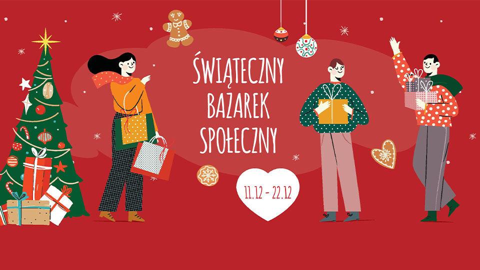 Grafika promująca świąteczny bazarek społeczny.